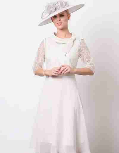 Champagne chiffon floaty dress and jacket