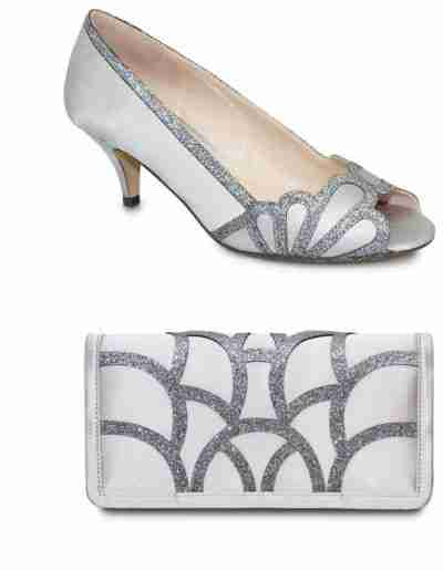 Dalia silver shoes and bag