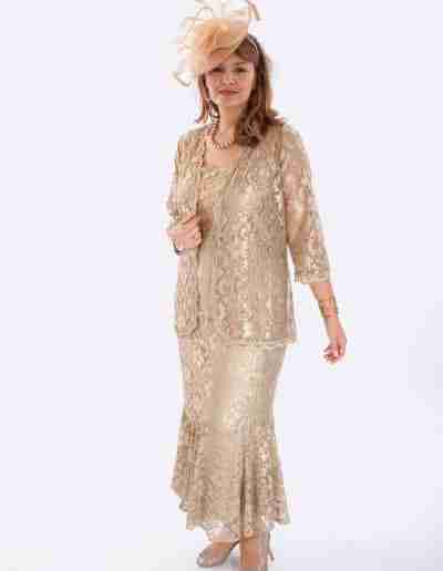Plus Size Champagne Lace dress and jacket