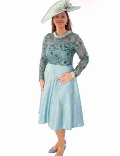 Plus Size Duck Egg Flared 50s style dress