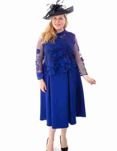 Plus Size Royal Blue A Line Dress with Lace Jacket