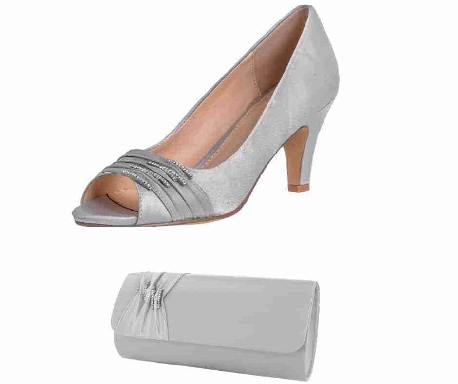 Silver shoes and matching bag for mother of the bride groom wedding bridesmaid Worcestershire
