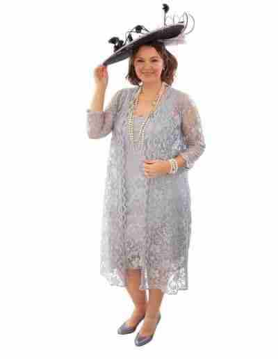 Silver Lace Plus Size Dress and Coat Wedding outfit