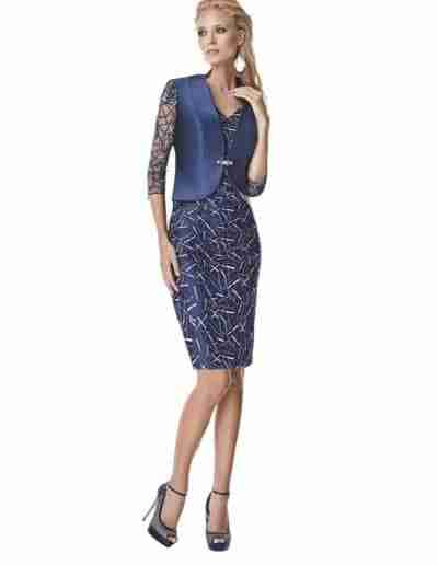 Navy Mother of The Bride Outfit Dress and jacket
