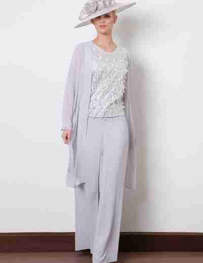 Silver grey floaty trouser suit