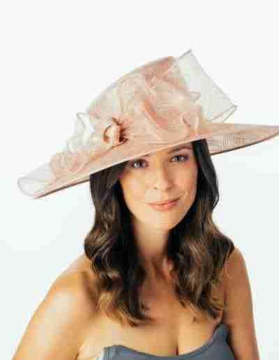 Pink Ruffled Bow Wedding Hat