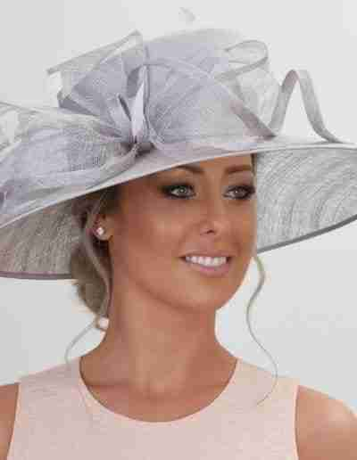 Grey Wedding Hat with Bow Detail