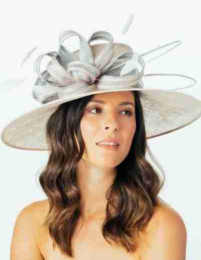 Pink and Grey Bow Detail Wedding Hat