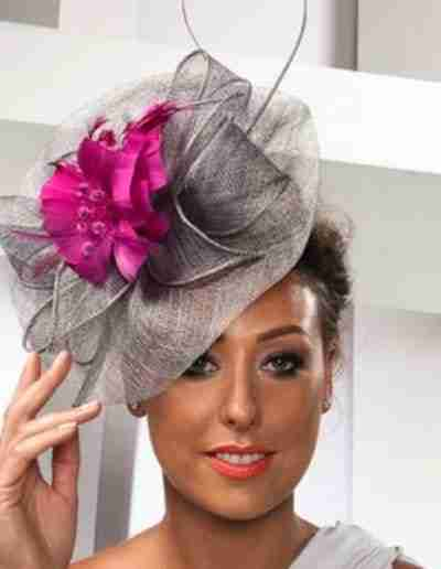 Grey Wedding Hat with Pink Flower