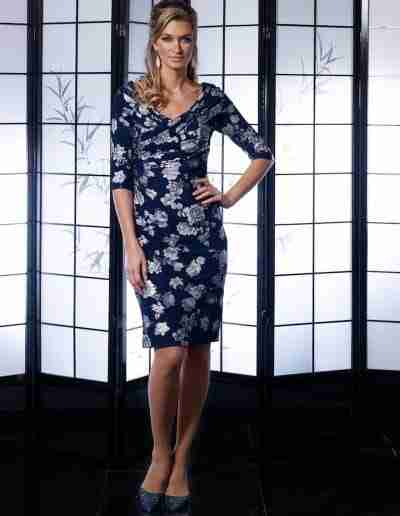 Veromia Occasions Navy and Silver Dress with sleeve