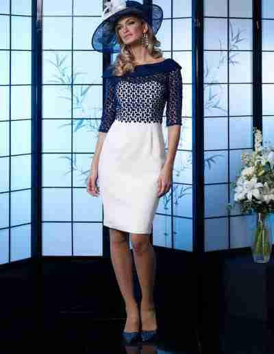 Veromia Occasions Navy and white dress with sleeve and bardot neck