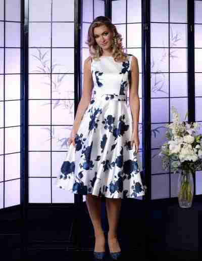 Veromia Occasions White and navy satin A line dress for ladies day at races