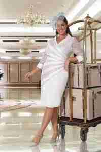 Veromia plus size silver dress with sleeve for larger lady