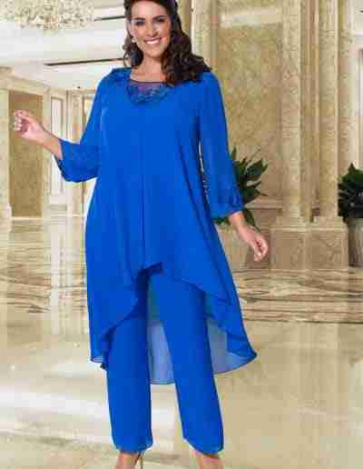 Veromia Plus Size cobalt blue and silver floaty trouser suit