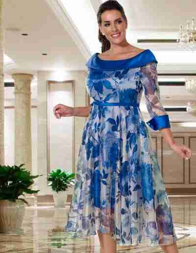 Veromia Plus Size royal blue floaty 50s style chiffon dress for younger mother of the bride