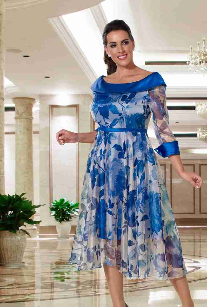 Veromia DU354 Plus Size Cobalt Blue Mother of the Bride Dress