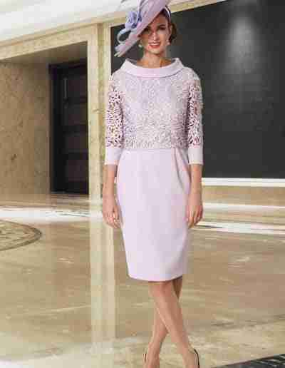Veromia Pink Dress with Lace Detail