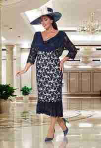Veromia Plus Size Mother of The Bride & Groom Navy and Cream Lace Dress
