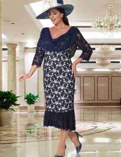 Veromia  Plus Size Navy and Cream  Mother of The Bride & Groom Dress