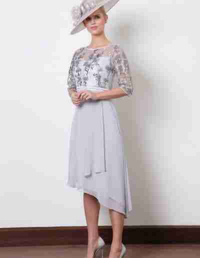 Silver grey high low dress with chiffon skirt and sleeve
