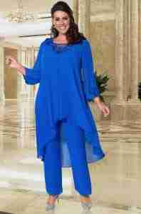 Plus Size cobalt blue Mother of the bride floaty trouser suit