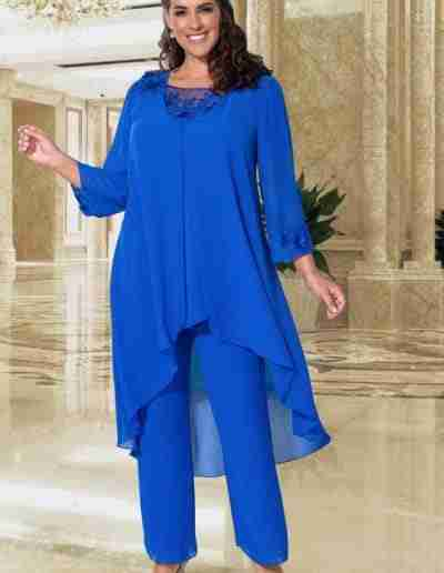 Veromia Plus Size cobalt blue and silver floaty chiff… trouser suit