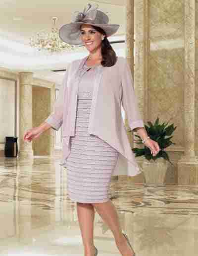 Veromia Plus Size taupe stretchy metallic dress and jacket
