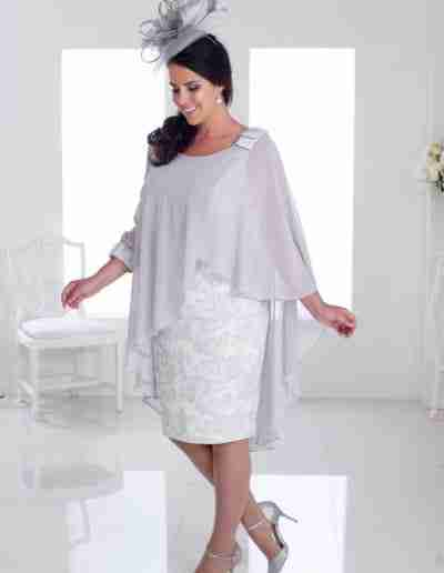 Veromia Silver plus size dress with cape