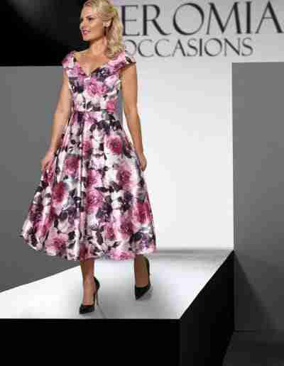 Veromia Occasions Pink and grey floral A line dress