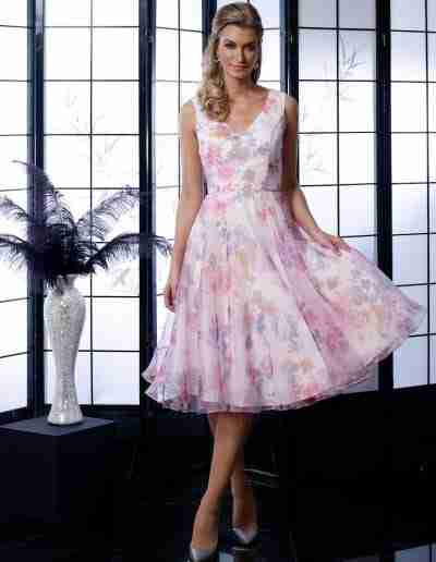 Veromia Occasions floaty organza pastel pink lilac floral print dress
