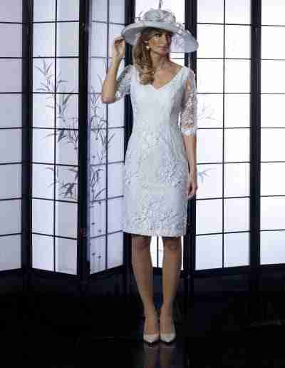 Veromia Occasions silver lace beaded dress with sleeves