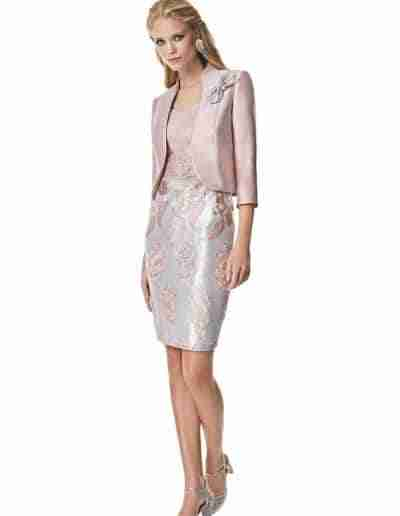 Sonia Pena Blush Pink and Silver Mother of the Bride & Groom Dress & Jacket