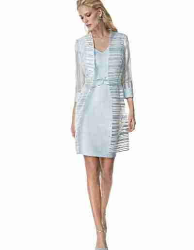 Sonia Pena Pastel Ice Blue Mother of the Bride Dress and Organza Coat