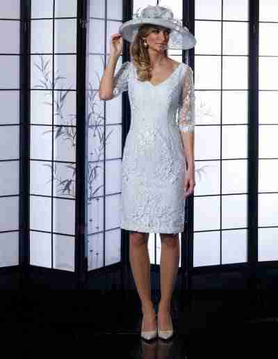 veromia occassions silver lace beaded dress with sleeves