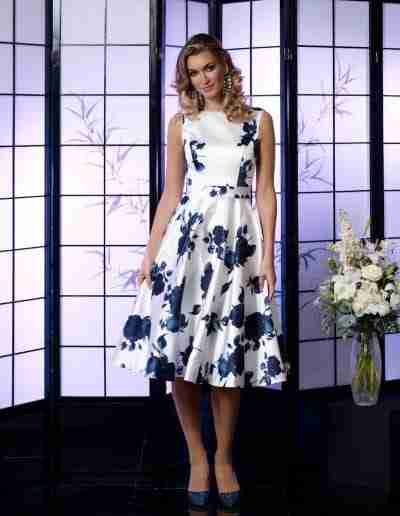 veromia occassions white and navy satin A line dress for ladies day at races