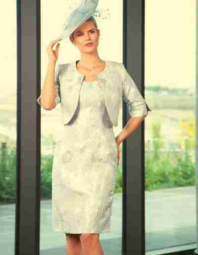 Pastel silver Lizabella Pastel dress and jacket for Mother of the Bride & Groom