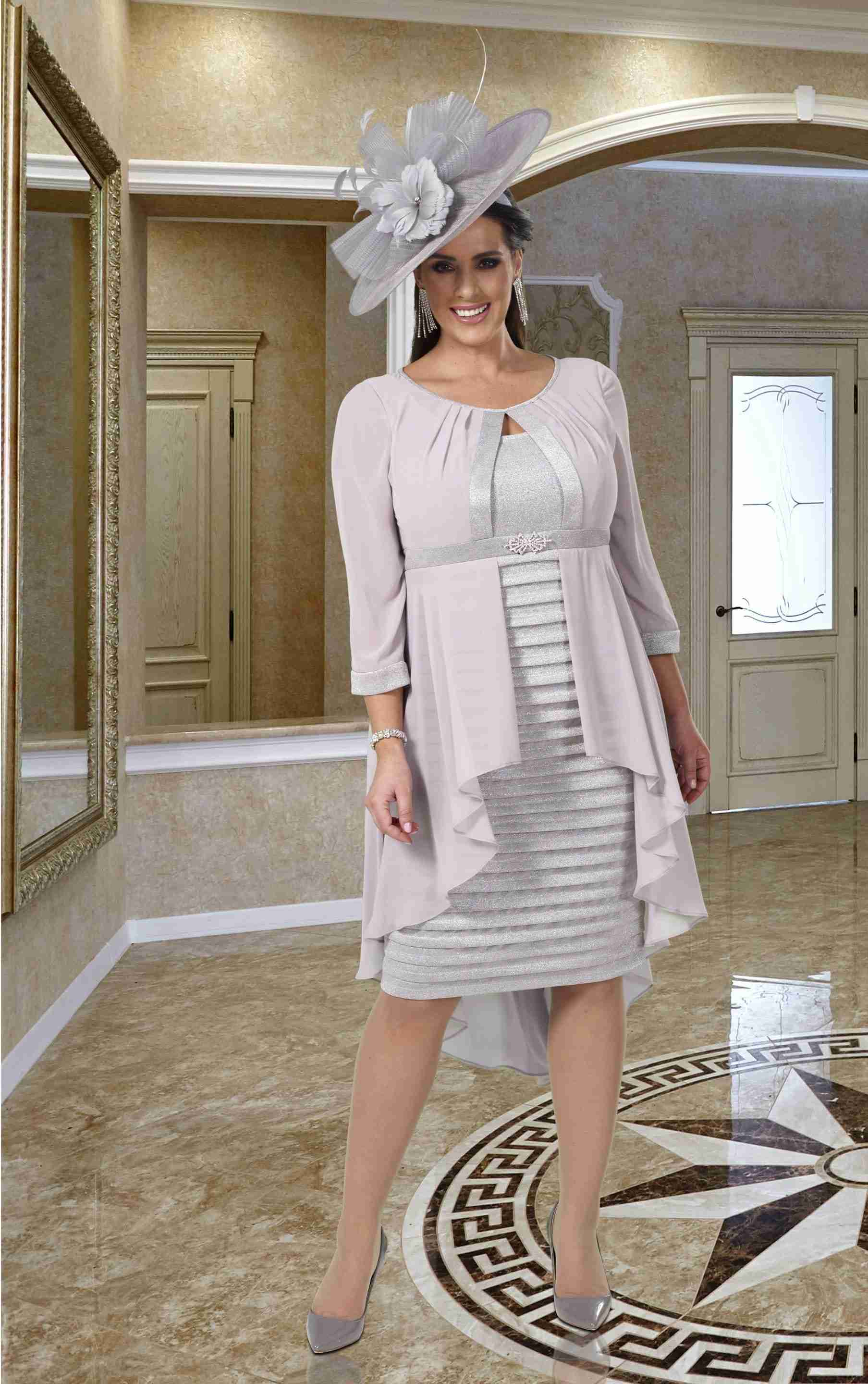 Veromia Plus Size Navy and Ivory Lace Mother of the Bride Dress