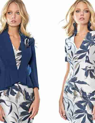 Sonia Pena navy and white dress and jacket