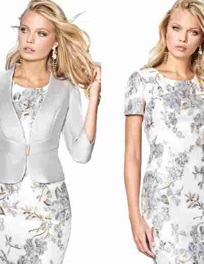 Sonia Pena silver and white dress and jacket