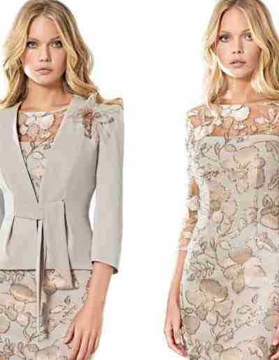 Sonia Pena taupe dress and jacket with belt