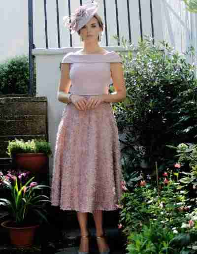 Blush pink a line fit and flare dress for mother of the bride and groom