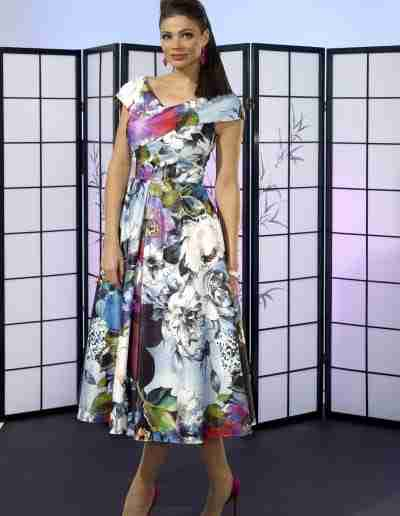 Multi coloured floral print a line fit and flare dress for wedding guest and ladies day